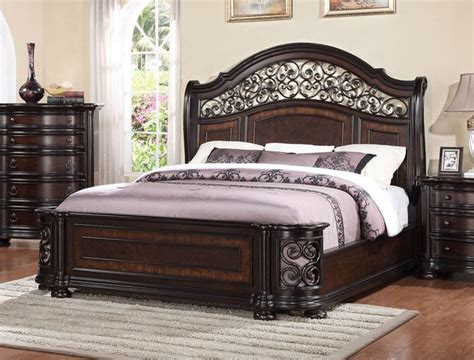 wrought iron king bed allison wrought iron and wood king sleigh bed in dark brown