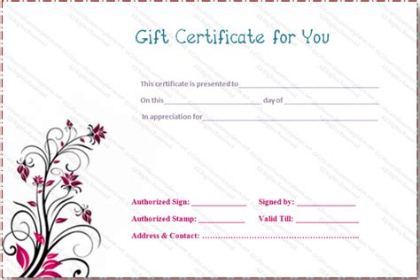 flower gift card template flower gift certificate templates