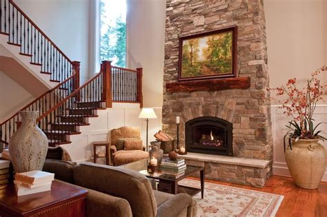 great room fireplace  open stairs family room
