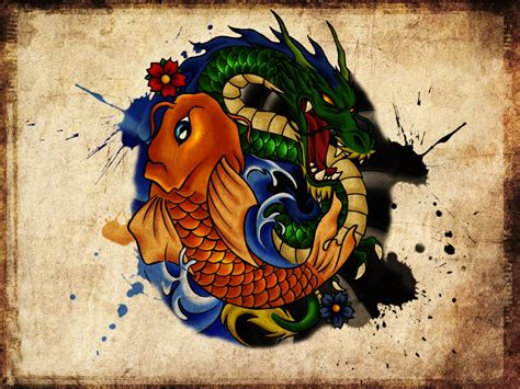 dragon fish tattoo designs fish images designs