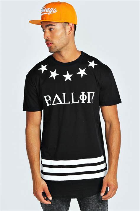 boohoo mens ballin longline printed sleeve crew neck top t shirt