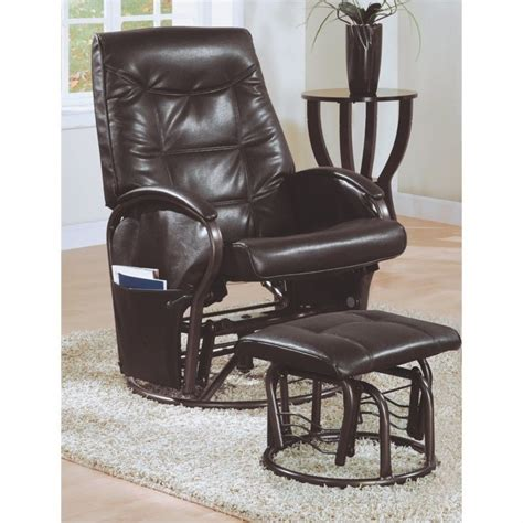 Leather Swivel Rocker Recliner With Ottoman by Monarch Swivel Rocker Faux Leather Recliner With Ottoman