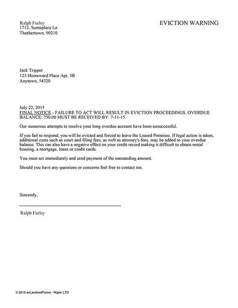 Landlord Threatening Eviction Eviction Warning Ez Landlord Forms