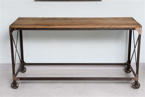 sofa table on wheels industrial console or sofatable on wheels at 1stdibs