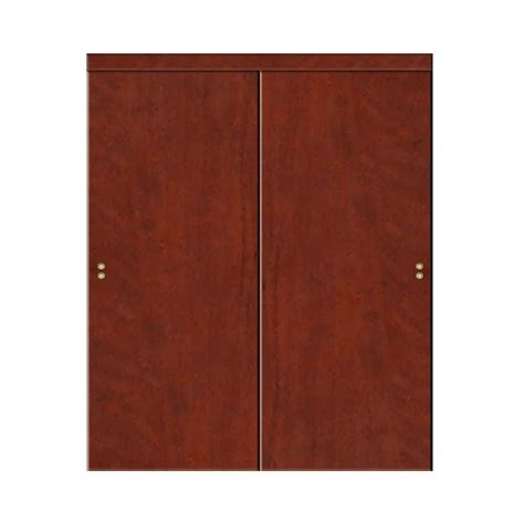 72 Sliding Closet Doors by Impact Plus 72 In X 84 In Smooth Flush Solid Cherry
