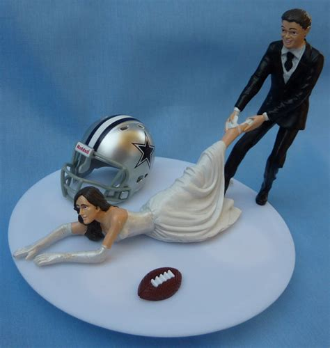 wedding cake topper dallas cowboys g football themed w garter