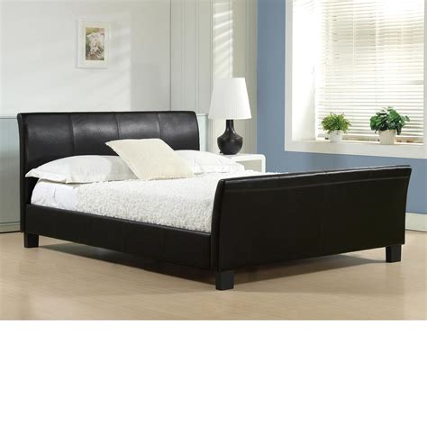 Winchester Black Faux Leather Bed Frame 4ft6 Double Faux Leather Bed Frames
