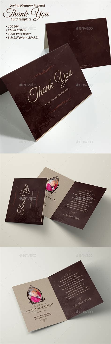 thank you card funeral template loving memory funeral program thank you card template by