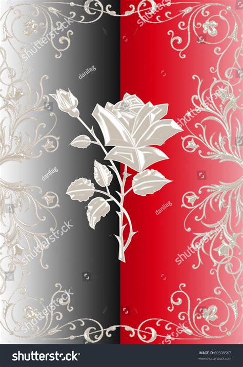 silver rose  black  red background stock photo