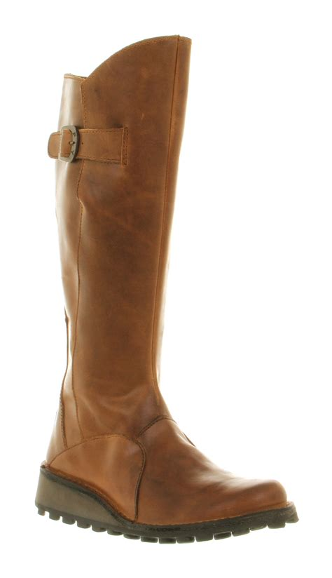 womens fly mol low wedge buckle boot leather