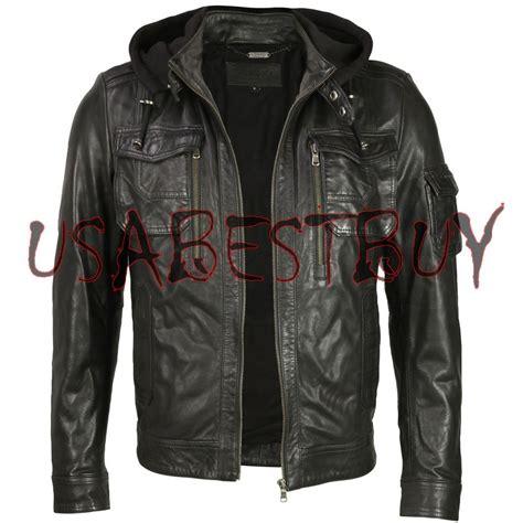 hooded motorcycle jacket handmade new men stylish fabric hooded biker leather
