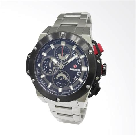 Jam Tangan Expedition Black Sporty jual expedition jam tangan pria silver black 6696