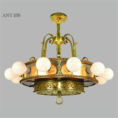 Antique Light Fixtures Antique Bare Bulb 18 Light Chandelier 1910s 1930s Ceiling Fixture Ant 579 For Sale