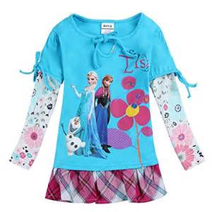 girls dresses frozen clothes kids wear casual long sleeve
