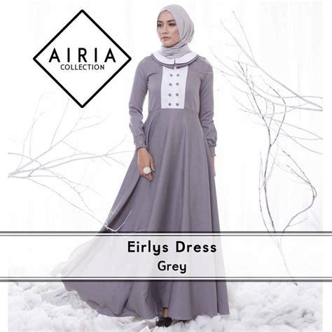 Baju Muslim Elmeira eirlys grey baju muslim gamis modern