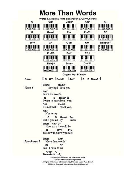 more than words more than words sheet music by extreme lyrics piano
