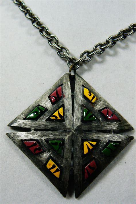 pendant l with chain vintage pewter enamel color pendant chain necklace