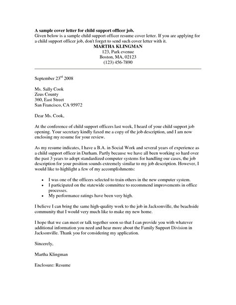 resume exles templates probation officer cover letter