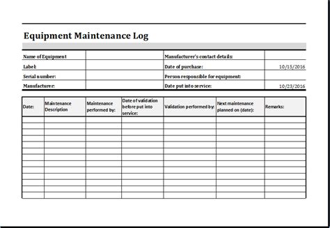 Machine Maintenance Log Template equipment maintenance log template ms excel excel templates