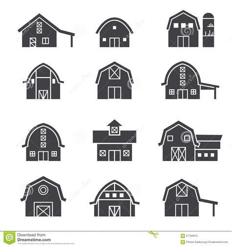 Barn Style House Plans farm building icon set stock vector image 57760975