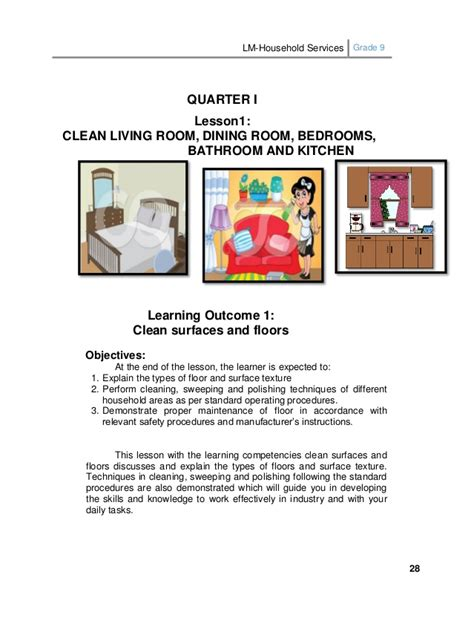 Living Room Lesson Plan Lm Household Services Grade 9 1st And 2nd Quarter
