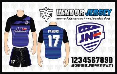 desain baju futsal biru hitam pesanan pembuatan baju olahraga futsal jne vendor jersey