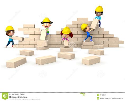 building a wall 3d building a wall royalty free stock photography