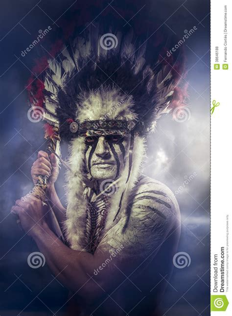 american indian warrior chief of the tribe royalty free