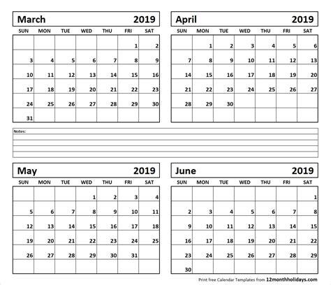 calendar template 4 months per page printable calendar 4 months per page 2019 template