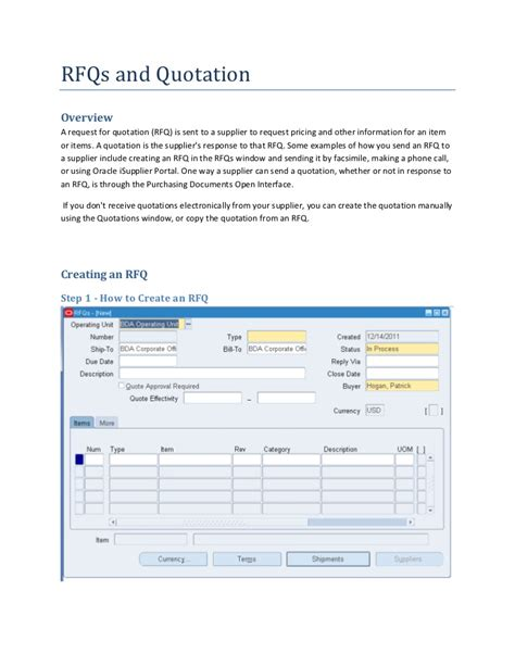 rfq form template how to create an rfq