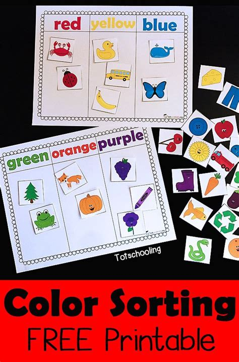 preschool printable language activities color sorting printable activity free coloring language