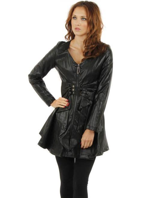 black leather swing coat urban mist coat black faux leather coat shop coats