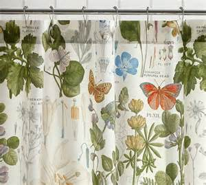 Curtains Botanical Print Poppy Botanical Print Shower Curtain Pottery Barn
