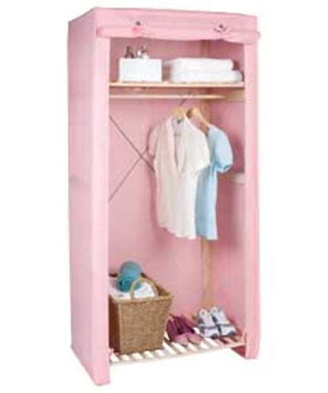 pink canvas and wood wardrobe with shelf review compare