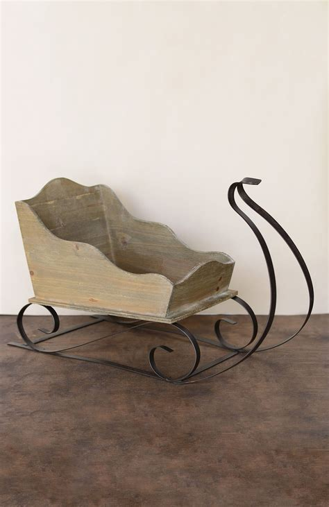 large wood metal sleigh 24in