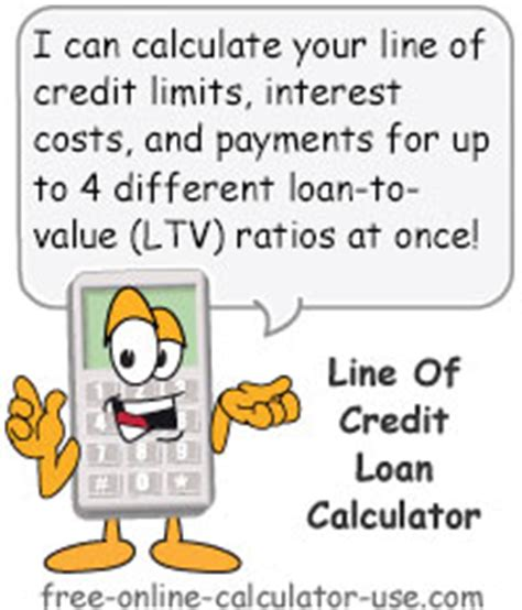 line of credit loan calculator compare lender ltv ratios