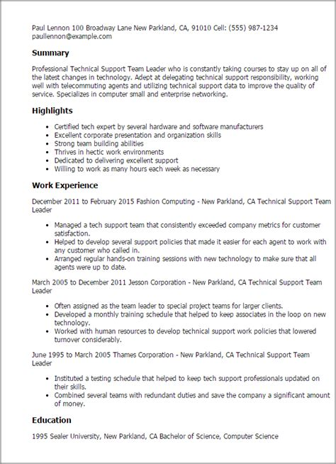 sle resume technical team leader professional technical support team leader templates to showcase your talent myperfectresume