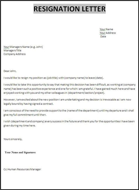 professional resignation letter examples  examples