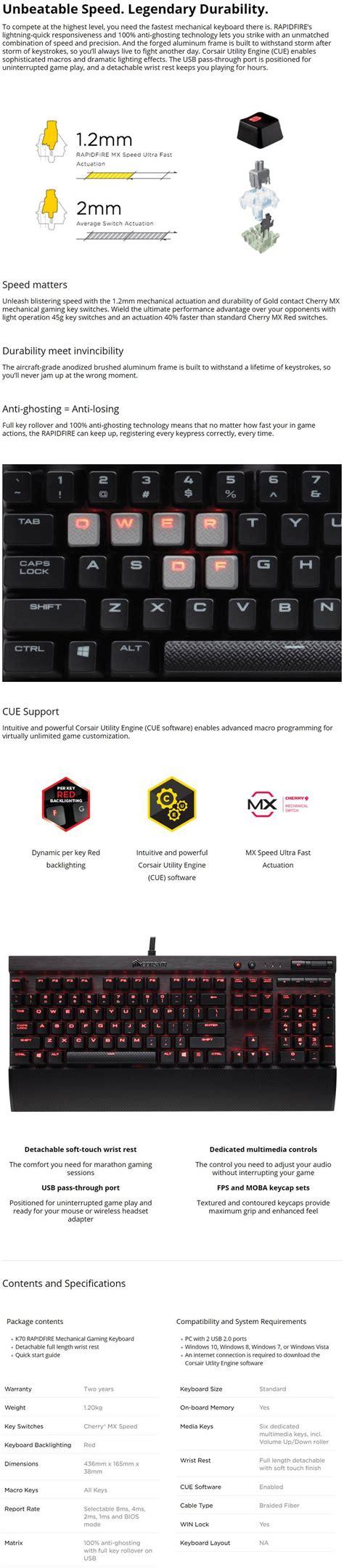 Keyboard Corsair K70 Rapidfire Mechanical Cherry Mx Speed Backli corsair gaming k70 rapidfire led cherry mx speed mechanical keyboard ebay