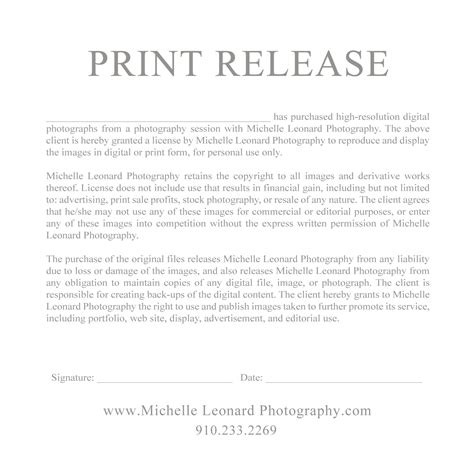 free photography print release form template photo print release form template images template design