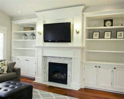 cabinets on either side high enough for tv to go on one