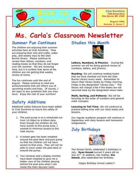 Classroom Newsletter Templates Wallpapersupnet Xbedd3os Teaching Ideas Pinterest Class Newsletter Template