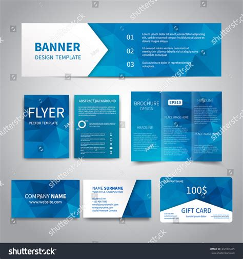 card brochure templates banner flyers brochure business cards gift stock vector