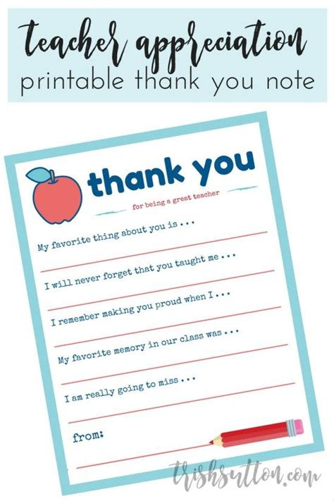 student thank you card template appreciation week printable thank you note