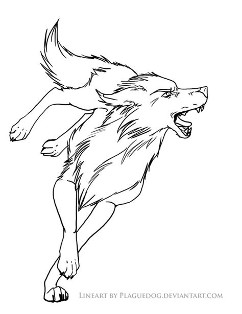 angry wolf coloring page bitey wolf lineart by plaguedog on deviantart
