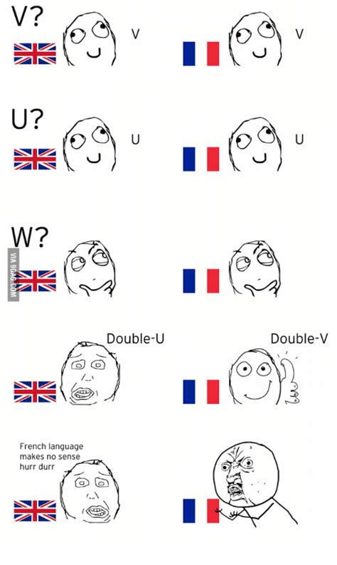 French Language Meme - v u w double u french language makes no sense hurr durr