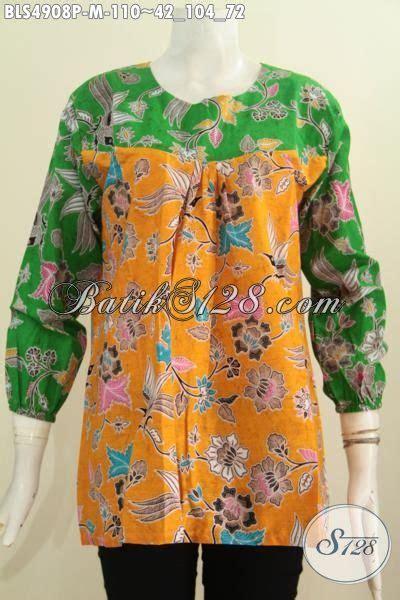 desain baju batik hijau jual baju blus lengan panjang kuning kombinasi hijau