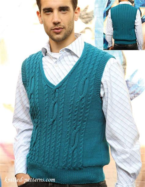 knit mens sweater vest pattern men s cabled tank top knitting pattern