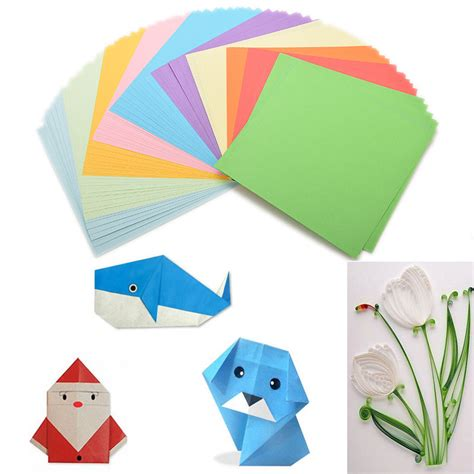 Folded Paper Craft - 100 pcs origami square paper sided coloured sheets