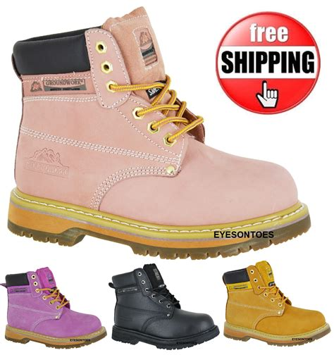 womans safety work pink steel toe cap groundwork